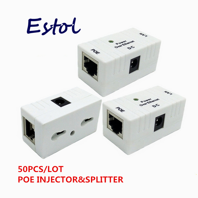 New Hot sale 50PCS/LOT RJ45 Connector POE Splitter Injector For CCTV Security system IP  Camera Power over Ethernet Adapter