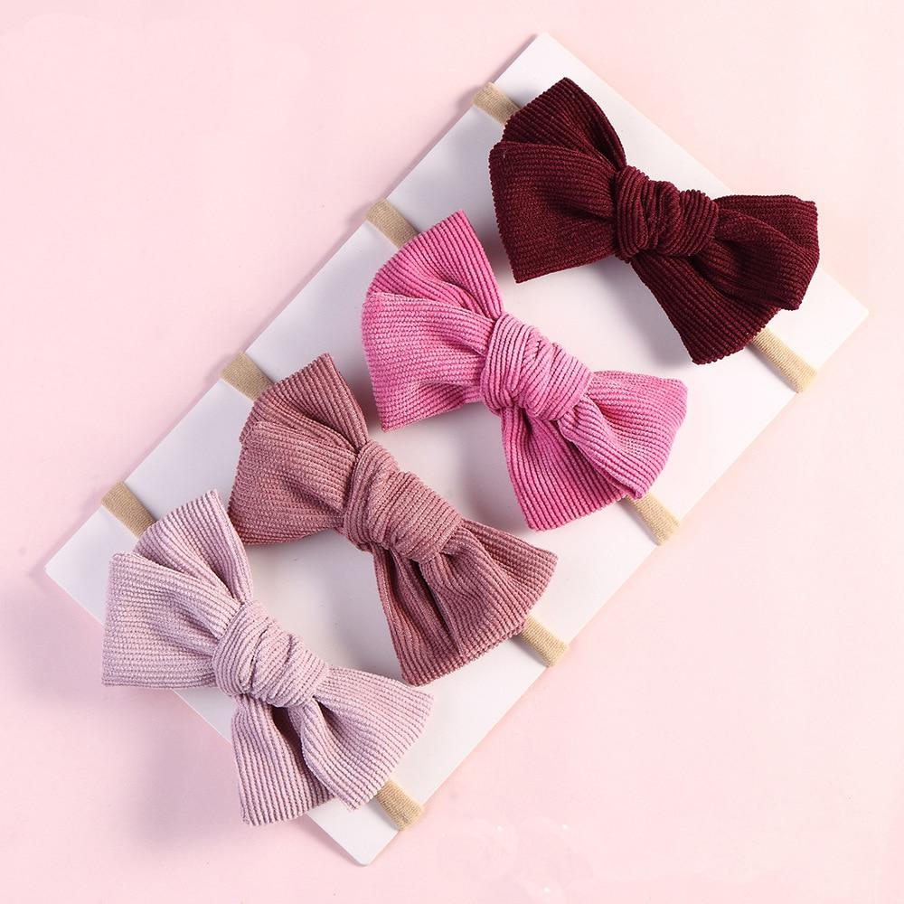 17 pcs/lot, Handtied Corduroy Bow Nylon Headbands or Hair Clips, Baby Girls Hair Accessory