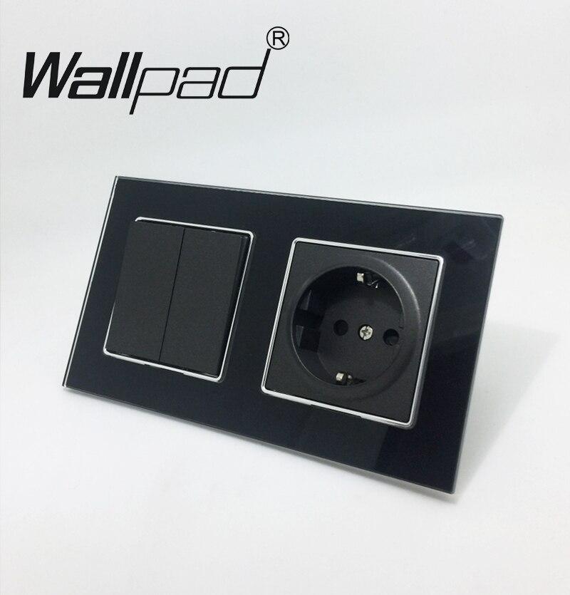 2 way Switch et Socket Wallpad Noir Verre Panneau Schuko UE Mur Prise D'alimentation avec Griffes et 2 Gang 2 façon dont La Lumière Interrupteur