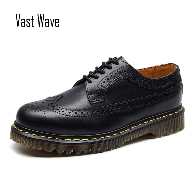 Vastwave Genuine Cow Leather Vintage Formal Brogue Casual Men's Leather Shoes Retro Thick Soles Low Upper Shoes Carved Shoes