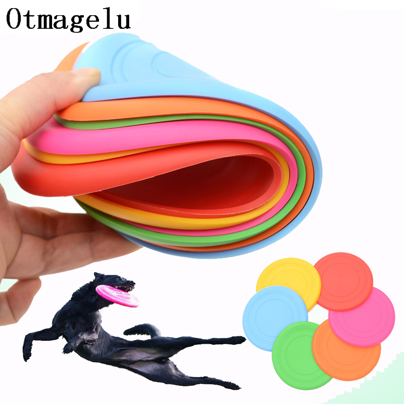 1pcs Funny Silicone Flying Saucer Dog Cat Toy Dog Game Flying Discs Resistant Chew Puppy Training Interactive Pet Supplies 1