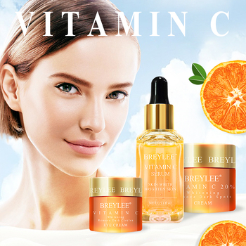 BREYLEE Vitamin C Whitening Set Face Serum Eyes Cream Facial Cream Remove Dark Circles Fade Freckles
