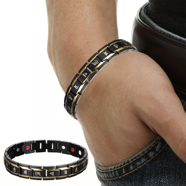 HTB1m8TtLXXXXXaMaXXXq6xXFXXXA - Black Gold Buddhism Rune Letter Bracelet