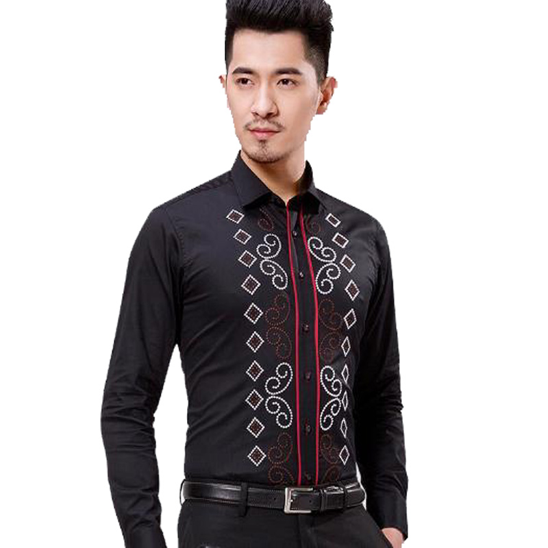 Fashion male 100 pure cotton long sleeve slim shirt trend for Men s 100 percent cotton dress shirts
