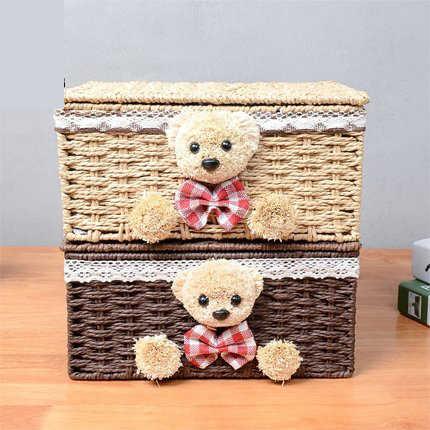 Rattan papel cesta de armazenamento de tecido com tampa caixa de armazenamento caixa de acabamento caixa de armazenamento de cosméticos cesta de armazenamento de desktop