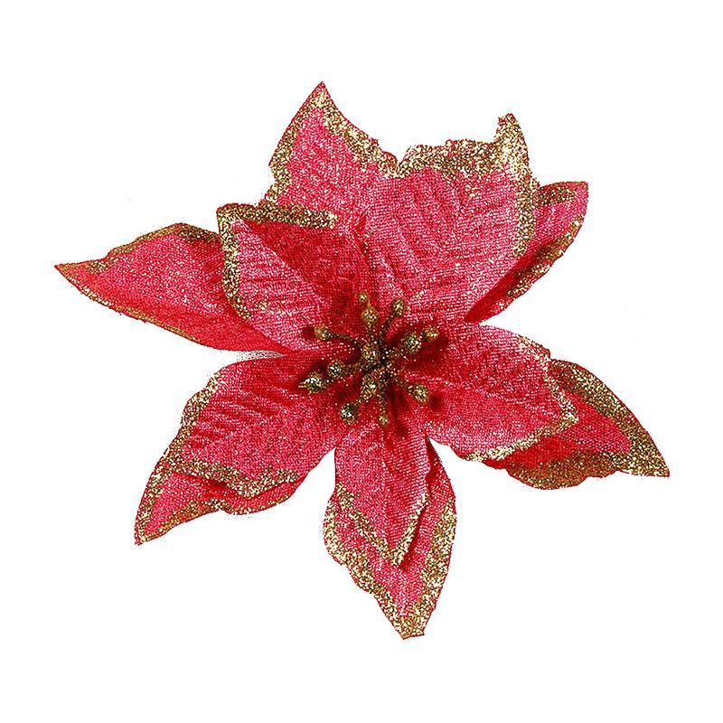 1 шт. 15 см Золотой Край имитация на Рождество цветок для свадебной вечеринки гирлянды украшения многоцветный пластик липкий порошок цветок - Цвет: Красный