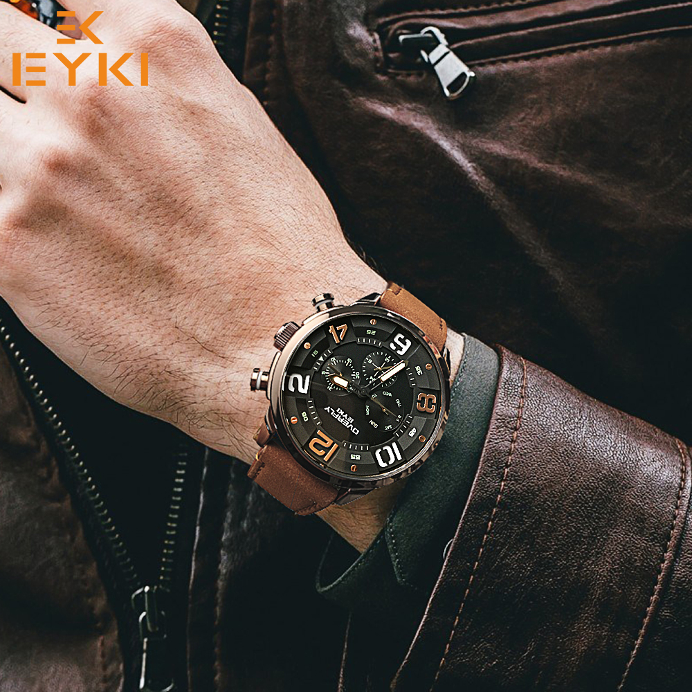 EYKI black genuine leather watchband mens watches man brown strap sport watch brand luxury quartz wristwatch