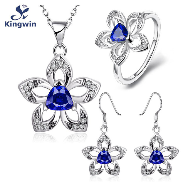 synthetic sapphire sterling silver 3 pcs fashion jewelry sets includes pendant necklaces, ring, earring wedding gift