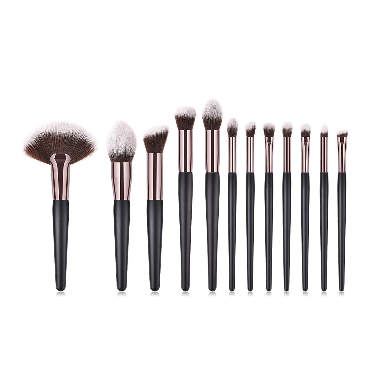 BBL 12pcs Black Makeup Brushes Set Tools Large Fan Kabuki Brush Powder Foundation Fluffy Buff Blender Brushes Pincel Maquiagem