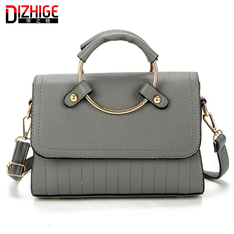 DIZHIGE High PU LeatherFrame Women Handbags Large Ring Vintage Messenger Bags Ladies Famous Brand Luxury Sac A Main