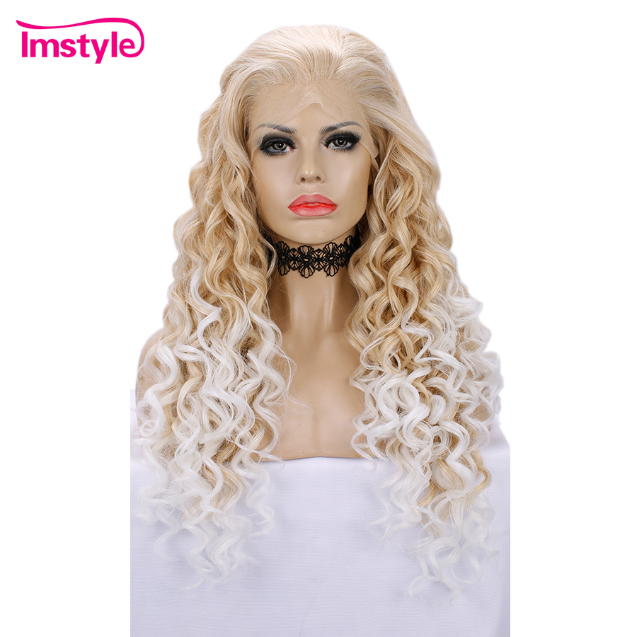 Imstyle Blonde Curly Wig Lace Front Wig Synthetic Hair Wig Two Tone Ombre White Wigs For Women Heat Resistant Fiber Cosplay Wigs-in Synthetic None-Lace  Wigs from Hair Extensions & Wigs    1