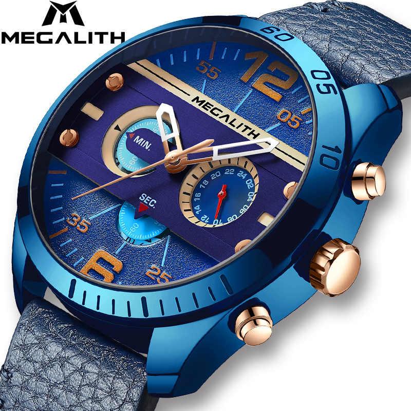 Relojes deportivos militares de marca MEGALITH, relojes de pulsera de cuarzo con correa de cuero azul a prueba de agua para Hombre