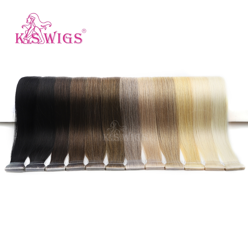 K.S WIGS Straight Double Drawn Remy Hair PU Skin Weft Hand Tied Tape In Human Extensions 16'' 20'' 24''