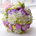 Фиолетовый Розовый Зеленый Свадебные Цветы Свадебные Букеты Букет Де Mariage Жемчуг Искусственный Невеста с Цветами в Руках Рамос Де Флорес