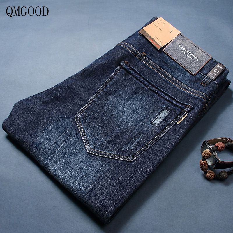 QMGOOD Men 's Brand Large Size Leisure Straight Business Slim Cotton Blue High - Quality Jeans 2017 New Men's Cowboy Trousers xmy3dwx n ew blue jeans men straight denim jeans trousers plus size 28 38 high quality cotton brand male leisure jean pants