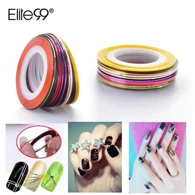 Elite99 20 stücke Nagel Aufkleber Für Gel Nagellack Rolls-klebeband-linie Bunte Aufkleber Für Nägel Kunst Dekoration DIY
