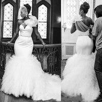 Mermaid Wedding Dresses Plus Size Ruffles Sweep Train Sweetheart Shoulder Flower Sash Black Girl African Wedding Gowns