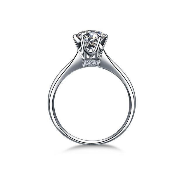 Clássico de Seis Garra Cz Anel de Diamante de 1 Quilates de Noivado do Solitaire anel de Casamento Branco Banhado A Ouro Jóias Anéis de Dedo Para As Mulheres anel