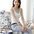 2016 Korean Summer Tops Plus Size XXXL Elegant White T-Shirt Diamond Beading Strap Cotton Vest Women Tank Tops Female T Shirt