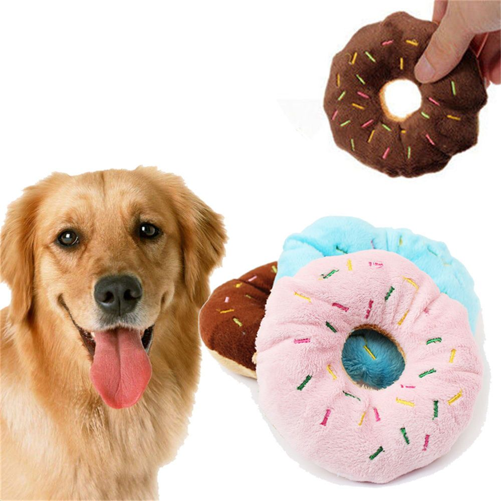 Lovely Pet Toy Cotton Donut Play Toys Dog Puppy Cat Tugging Chew Squeaker Quack Sound