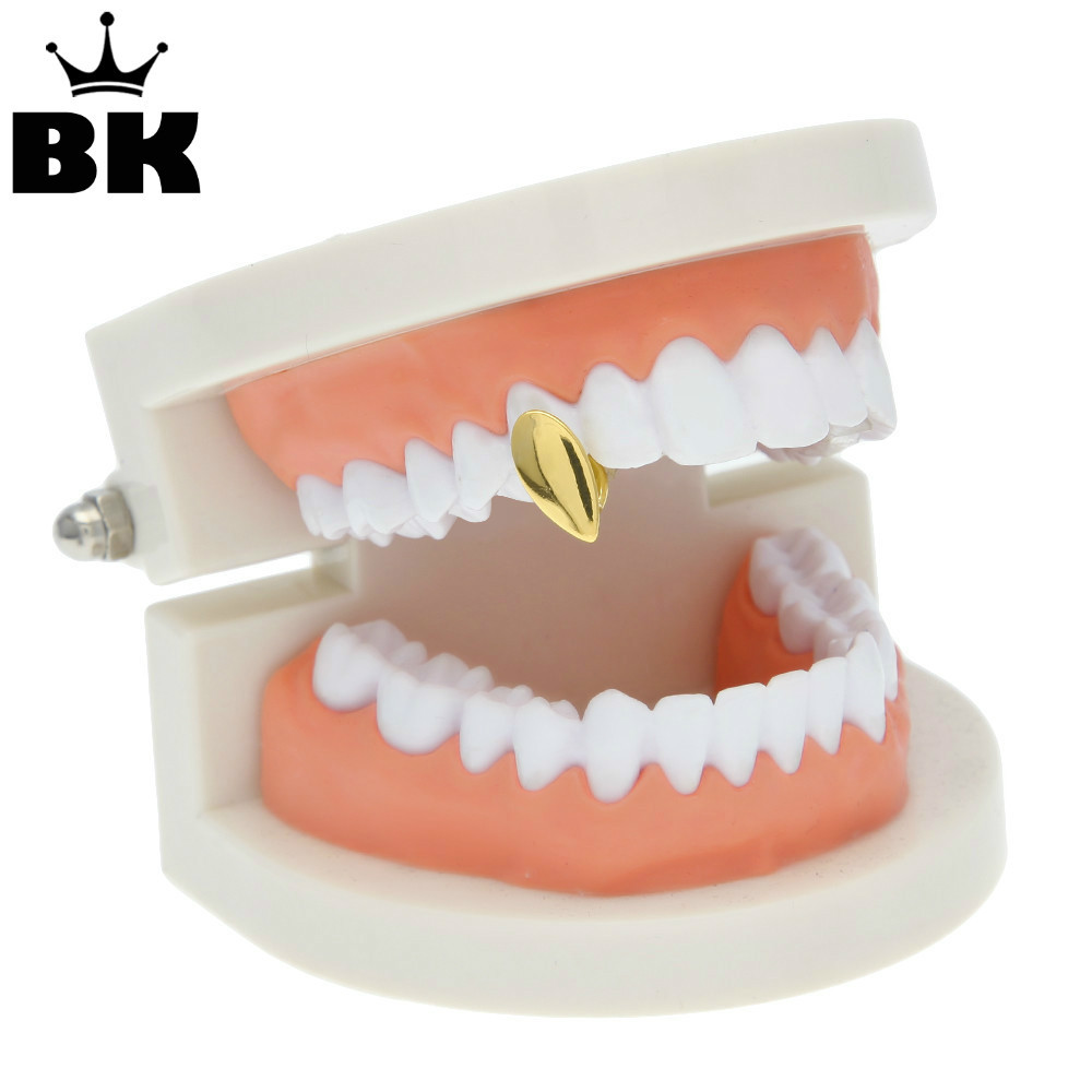 Single Teeth Cap Gold Silver Gold Color Canine Custom Tooth Grills Fang Decor
