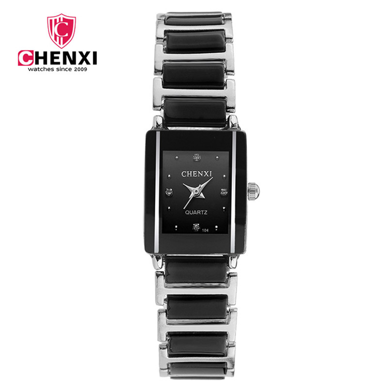 CHENXI Marke Damenuhr Elegante Schwarz Keramik Einfache Minimalismus Kleine Enge Quarz Beiläufige Uhr Frau Strass Armbanduhr