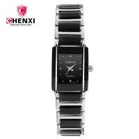 CHENXI Брендовые женские часы элегантный черный керамика простой минимализм небольшой узкий кварцевые повседневное часы женские со стразами ...