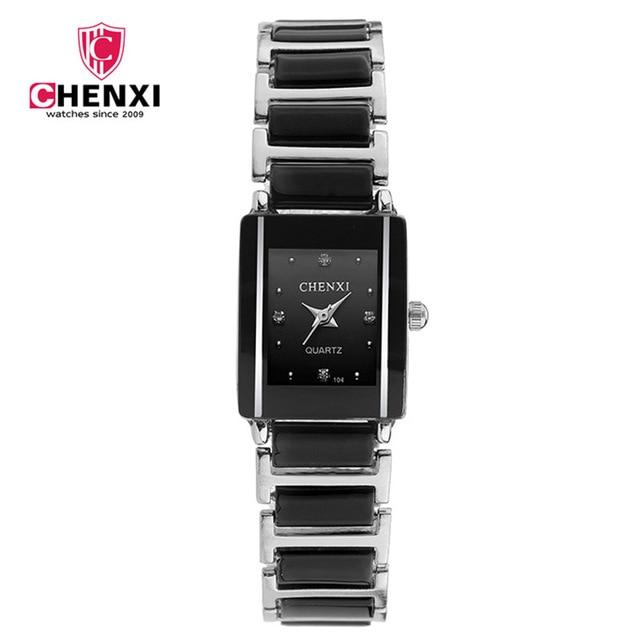 CHENXI Brand Lady Watch Elegant Black Ceramics Simple Minimalism Small Narrow Qu