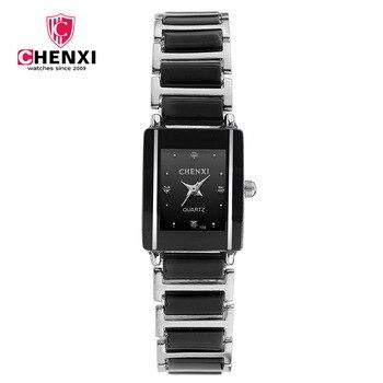 Chenxi 브랜드 레이디 시계 우아한 블랙 도자기 간단한 미니멀리즘 작은 좁은 석영 캐주얼 시계 여자 라인 석 손목 시계