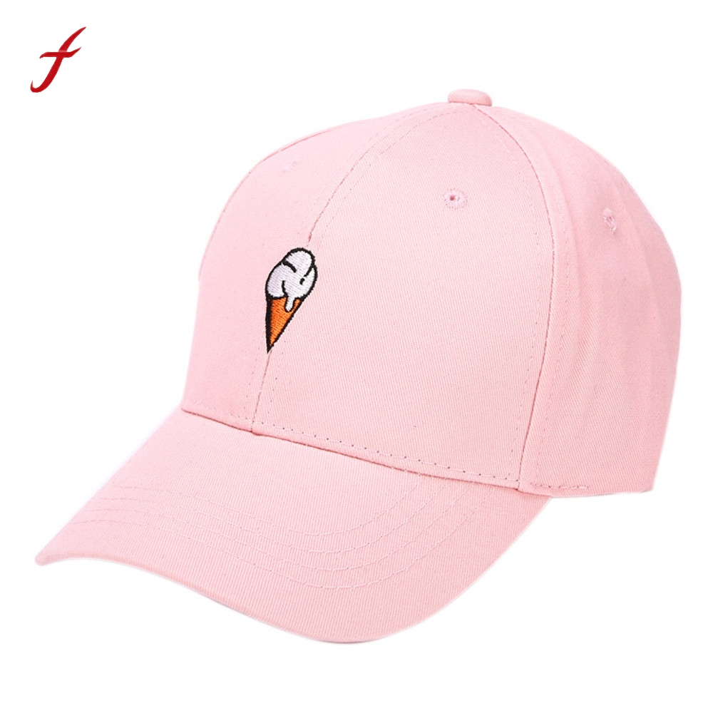 5d639bd56d0 Feitong Men Women Causal Ice Cream Embroidery Snapback Peaked Hip hop  Curved Strapback Baseball Cap Hat