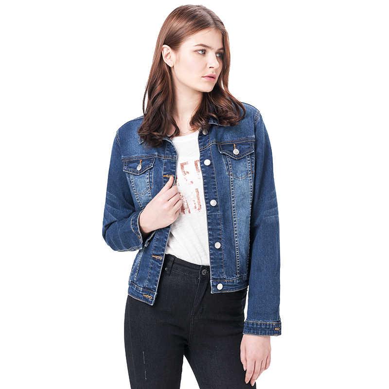 2019 LEIJIJEANS Women Plus Size 6XL long basical jeans jacket coat Bleach Full Sleeves Single Breast Slim Women Denim Jacket