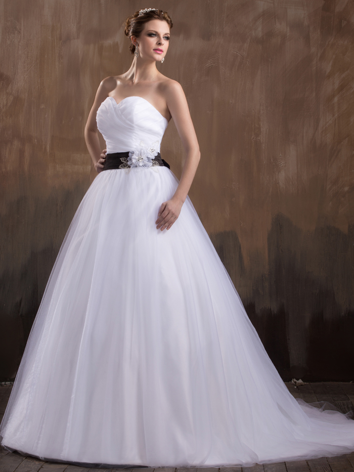 Black and white ball gown princess strapless pleated for Wedding dresses with sashes