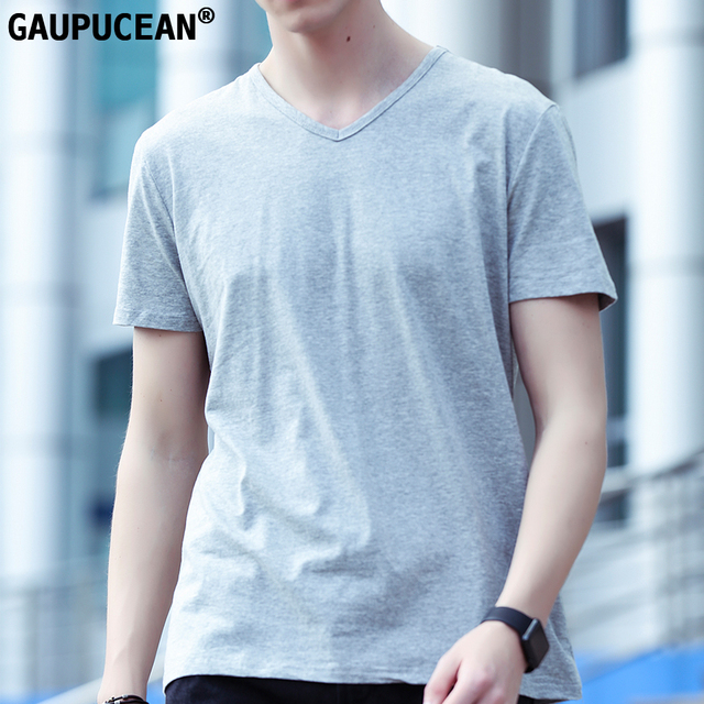 9f96fd5b51f Gaupucean Man T-shirt Summer V-neck 95% Cotton Spandex Grey White Navy  Black Solid Plain Slim Short Sleeve Casual Men T Shirt