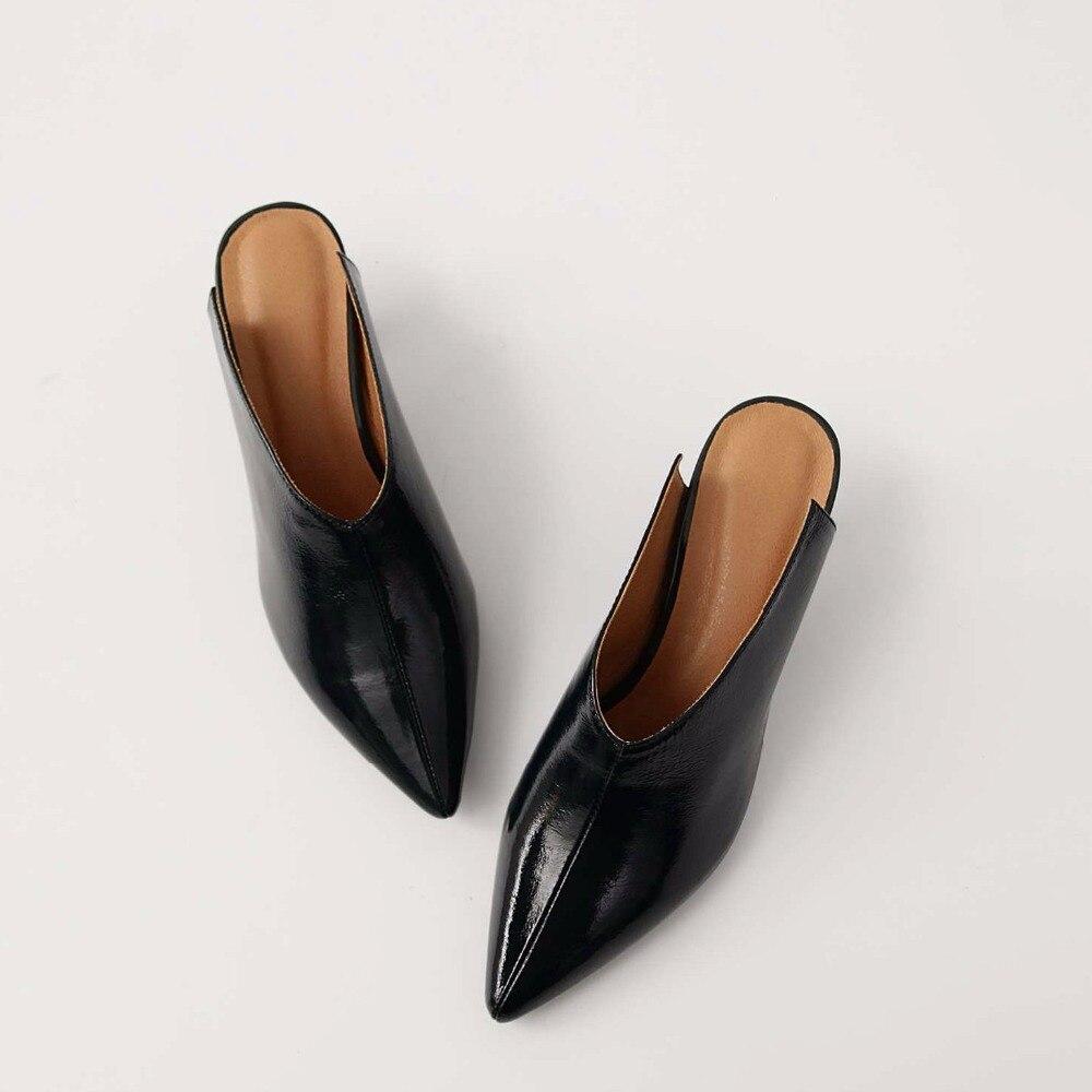 Chaussures Cuir Pot Véritable Mince D'été Pointu Pompes Rouge Haute Femmes Mules Krazing Brown vin En yellow Bout Vintage Partie Noir Talons Stylet L18 Marque dqwaYtI