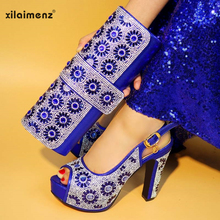 Blue shining crystal Italian shoes with matching bag lady matching shoes  and bag rhinestone African shoes db9424e8f264