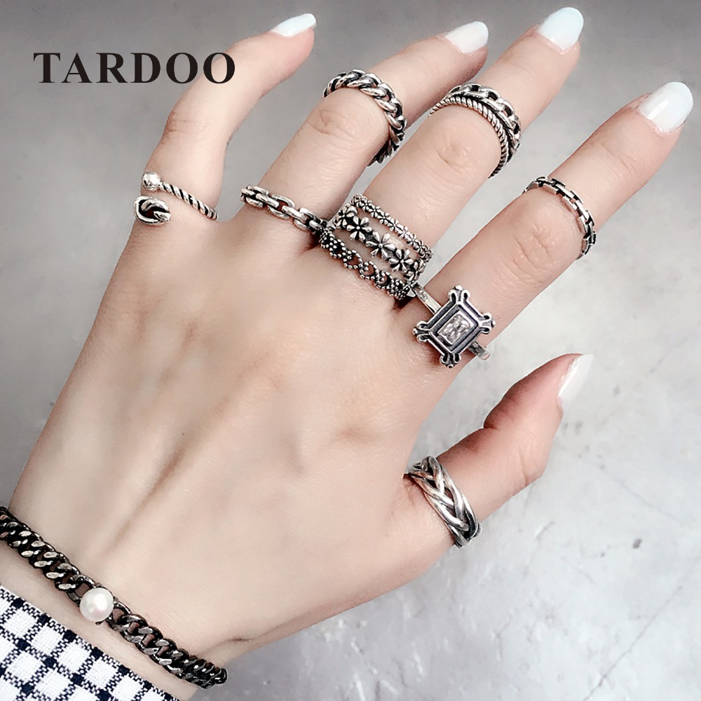 Tardoo 925 Sterling Silver Mix Match Rings for Women Classic Plants Heart Rings Sets Fashion Punk