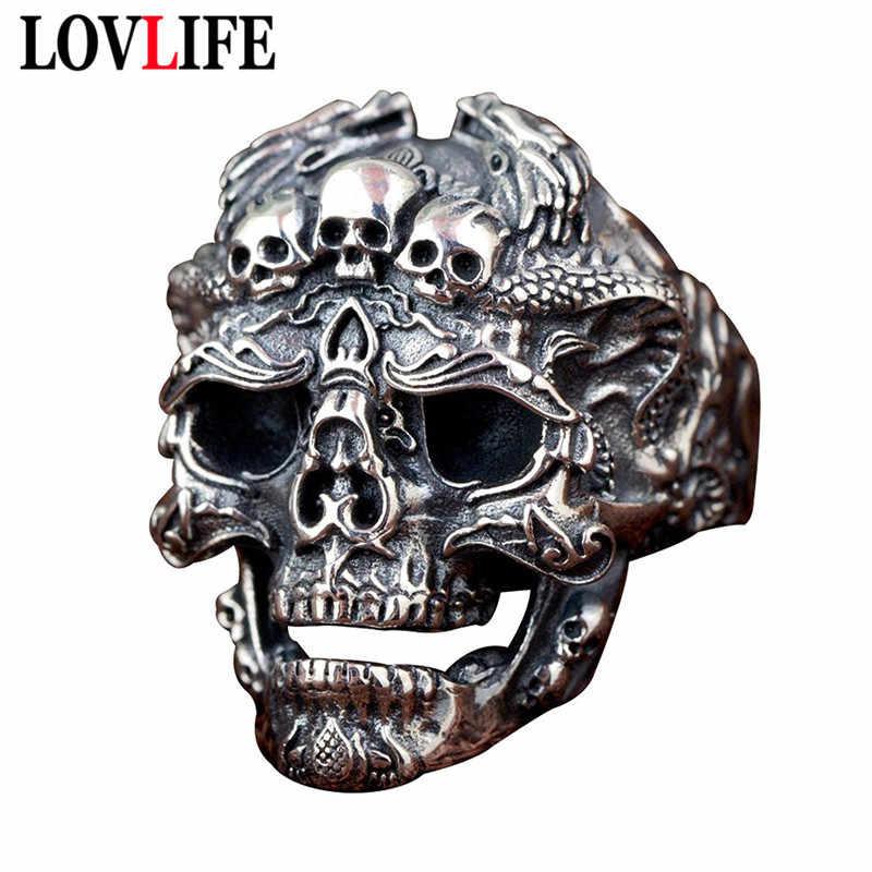 VINTAGE ROCK Locomotive แหวนผู้ชายลายนิ้วมือปรับ Retro Silver สีมังกรรูปแบบ Big Skull HEAD แหวนแฟชั่นของขวัญฮาโลวีน