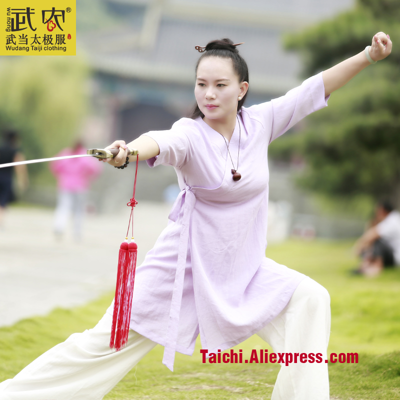 Wudang Tai Chi Clothing Female  Uniforms  Hanfu  Wushu Taiji Exercise Linen Skirt Only Skirt  Not Include Pants