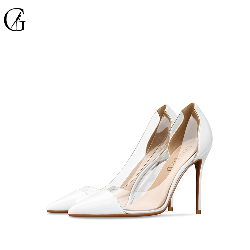GOXEOU Women Pumps 2018 Transparent white High Heels Sexy Pointed Toe Slip-on Wedding Party Shoes For Lady plus Size 32-46 fedonas new women pumps 2018 mary jane high heels sexy pointed toe slip on wedding party shoes for lady buckles female pumps