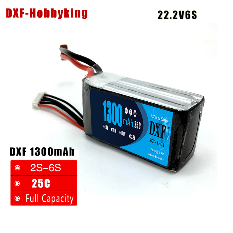 DXF <font><b>6S</b></font> 22.2V <font><b>1300mAh</b></font> 25C-50C RC High Rate <font><b>LiPo</b></font> battery For RC Helicopter Airplane Car Boat Quadrotor RC Li-ion battery image