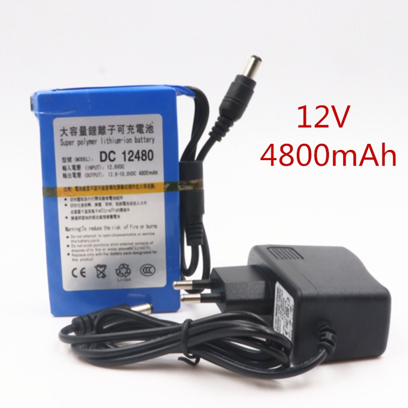 2019/ Original 12 V 4800 MAh Rechargeable Lithium Battery Li Ion Rechargeable Battery With Dc 12480 EU / US Plug Charger