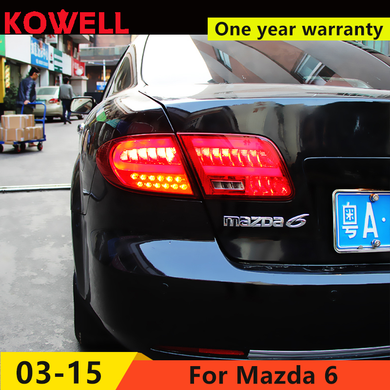 KOWELL Car Styling for <font><b>Mazda</b></font> <font><b>6</b></font> LED <font><b>Taillights</b></font> 2005-2013 for Mazda6 Tail Light Rear Lamp DRL+Brake+Park+Signal image