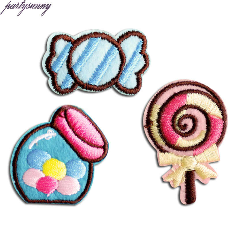 PF Candy Patch Sweet Stripe Embroidery Iron On Patches for Clothes Tops Children Sewing DIY Applique For Clothing Crafts TB141