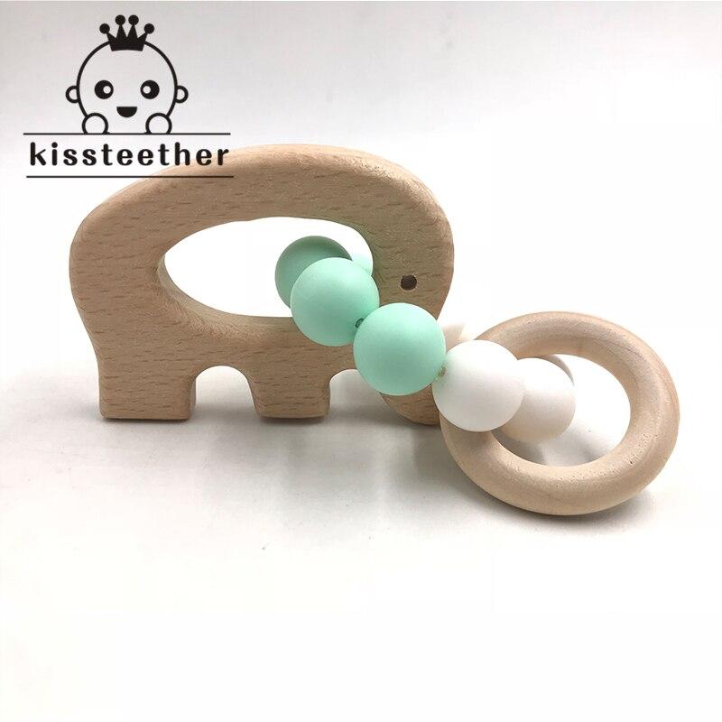Bebê pulseira de madeira em forma de animal jóias dentição para bebê contas de silicone de madeira orgânica bebê chocalho carrinho de criança acessórios brinquedos