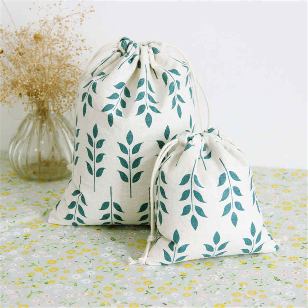 3Sizes Grain Pattern Print Drawsting Dust Receive Cloth Cotton Linen Fabric Bag