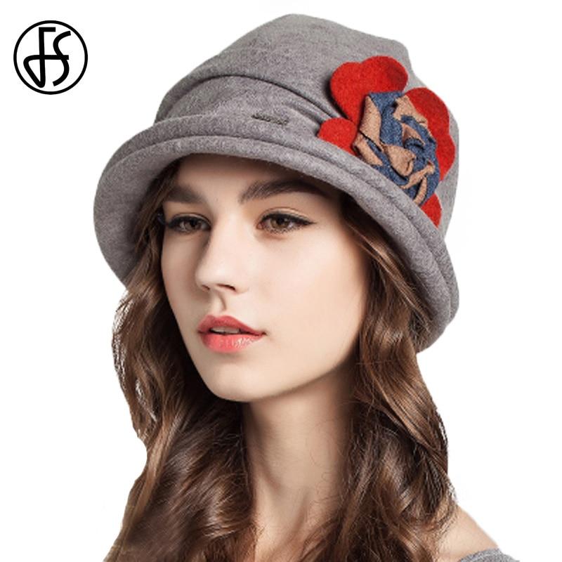 FS Women Red Foldable Wool Hats For Women Wide Brim Vintage Ladies Flower Warm Caps Floppy Chapeu Feminino Winter Fedora Hat