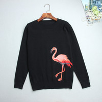 Newest Runway 2017 Autumn Winter Women S Sweater Luxury Embroidery Red Flamingo Female Pullover Tops Black