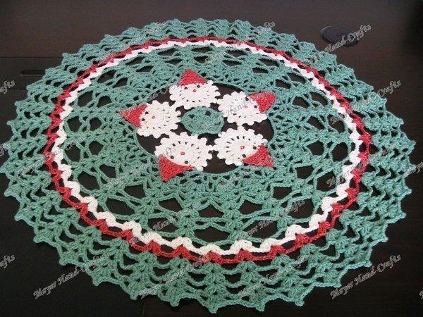 Crochet Christmas Santa Table Cloth Christmas Tree Skirts