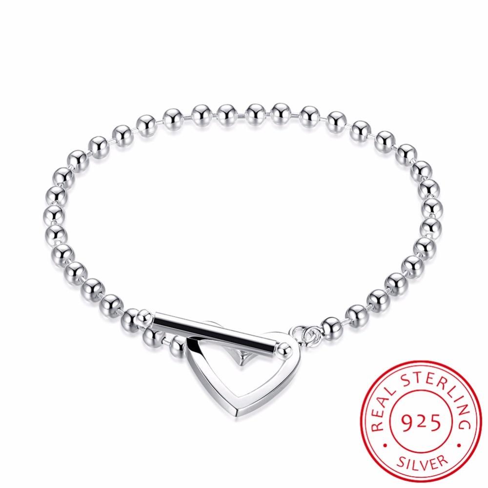 LEKANI Heart Shaped Beads Bracelet & Bangle 925 Sterling Silver Charm Brand Design For Women Elegant Fine Jewelry Gifts