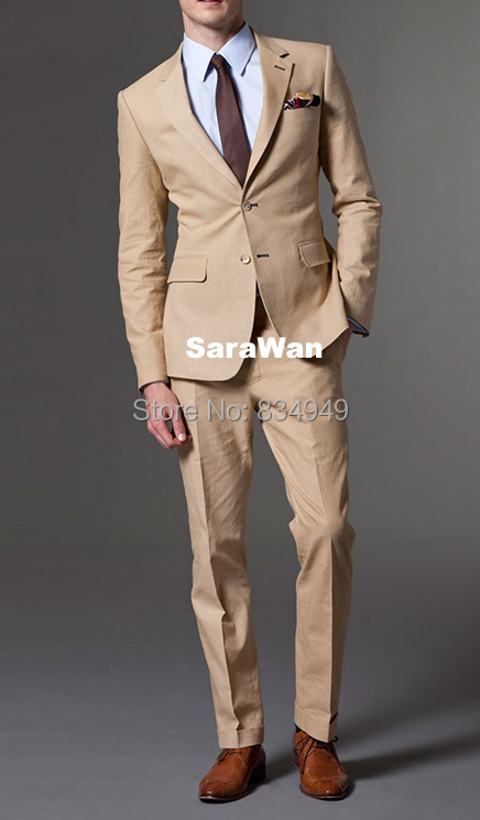 Custom Made Khaki Men suits,Tailored Made Tan Men Suits, Bespoke ...